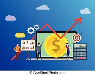 razem, wzrost, ludzie, plan, wykres, handlowy, rozwój, wektor, strzała, drużyna, pieniądze, pracujący, -, lokata