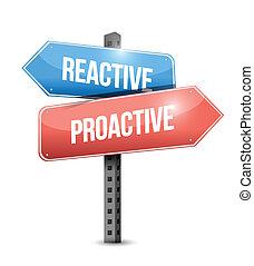 reaktywny, projektować, proactive, ilustracja, znak
