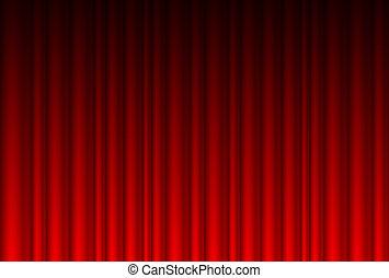 realistyczny, czerwona firanka