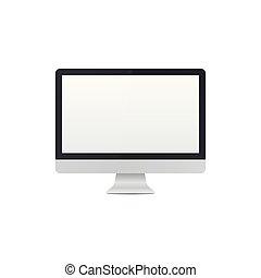 realistyczny, desktop, szablon, pc