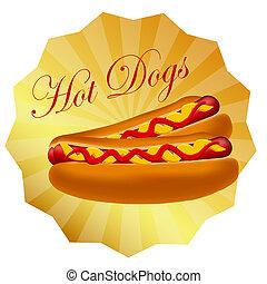 realistyczny, gorący, wektor, pies, ilustracja