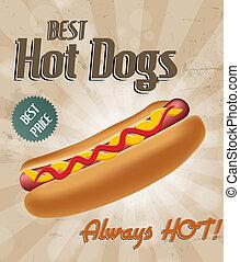 realistyczny, hot dog, ilustracja