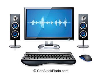 realistyczny, komputer, multimedia