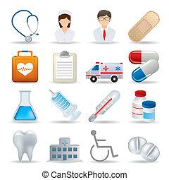 realistyczny, medyczny, komplet, ikony