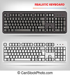 realistyczny, wektor, komputerowa klawiatura