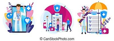 recepta, zdrowie, theme., komplet, rodzina, medicines., ilustracje, insurance., medyczny