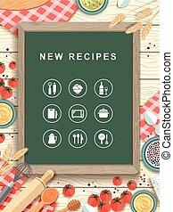 recepty, nowy, projektować, płaski, chalkboard, pisemny