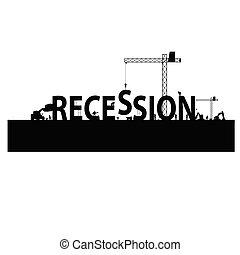 recesja, wektor, workforce, ilustracja