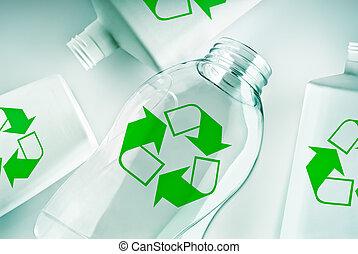 recycle symbol, kontenery, plastyk