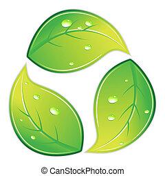 recycle symbol, pokryty obficie liśćmi