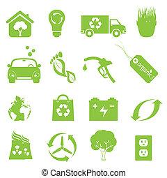 recycling, środowisko, komplet, czysty, ikona