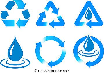 recycling, błękitny