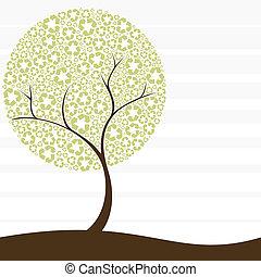 recycling, pojęcie, drzewo, retro