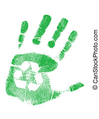 recycling, zielony, handprint
