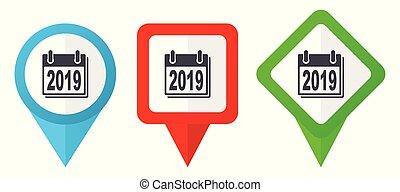 redagować, nowy rok, znak, zielony czerwony, wskazówki, markiery, odizolowany, 2019, wektor, odpoczynek, komplet, błękitny, barwny, rozmieszczenie, tło, icons., biały
