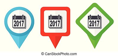 redagować, nowy rok, znak, zielony czerwony, wskazówki, markiery, odizolowany, wektor, odpoczynek, komplet, błękitny, barwny, rozmieszczenie, tło, icons., biały, 2017