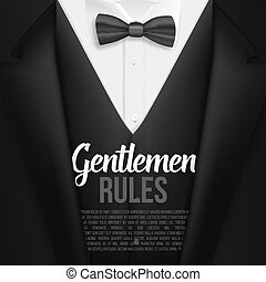 reguły, spis, menu, dżentelmeni, realistyczny, suit., wektor, czarnoskóry dostosowują, template.