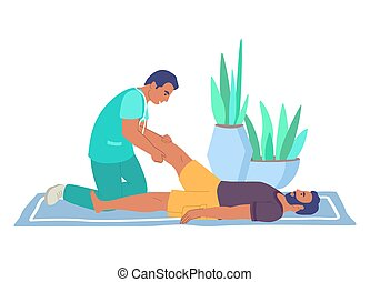 rehabilitacja, wyrządzony, terapia, center., ludzie., fizjoterapia, płaski, illustration., noga, masaż, wektor, traktowanie
