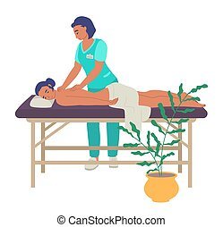rehabilitacja, wyrządzony, terapia, center., ludzie., wstecz, fizjoterapia, płaski, illustration., masaż, wektor, traktowanie