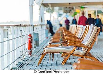 rejs, krzesła, pokład, statek