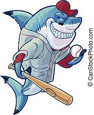rekin, baseball, rysunek, podły