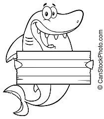rekin, czysty, konturowany, dzierżawa, znak
