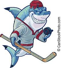 rekin, podły, hokej, rysunek