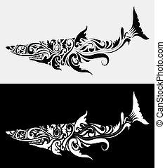 rekin, wektor, plemienny