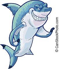 rekin, wektor, rysunek, podły