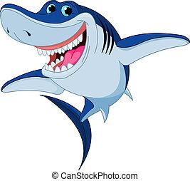 rekin, zabawny, rysunek