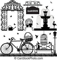 rekreacyjny, park, ogród