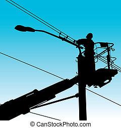 remont, illustration., moc, pole., elektryk, wektor, zrobienie