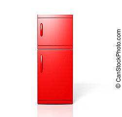 render, odizolowany, jeden, wielki, chłodnia, biały czerwony, 3d