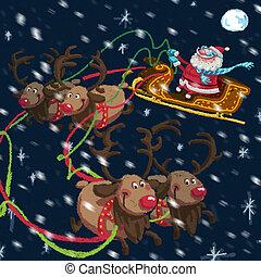 renifery, claus, sleigh, rysunek, boże narodzenie, święty, scena