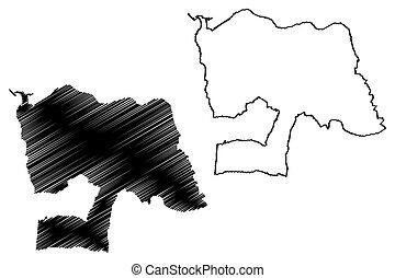 republika, bazgrać, ilustracja, vila, nova, (portuguese, portugal), gaia, miasto, wektor, rys, mapa, od