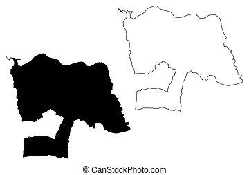 republika, bazgrać, wektor, miasto, od, nova, (portuguese, ilustracja, gaia, rys, portugal), vila, mapa