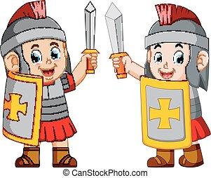 reputacja, żołnierz, rzymski, do góry, miecz