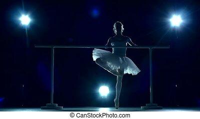 reputacja, balerina, pointe, powolny, ściana, ruch, drewniany