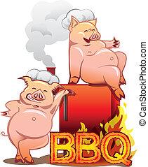 reputacja, beletrystyka, płonący, kuchmistrze, dwa, palacz, świnie, czerwony, uśmiechanie się, kapelusze, bbq
