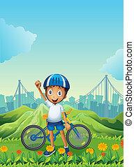 reputacja, chłopiec, jego, góry, rower, wysoki, wszerz