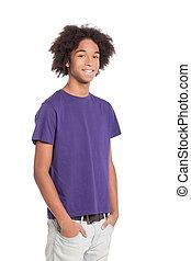 reputacja, chłopiec, teenage, dzierżawa, radosny, afrykanin, młody, odizolowany, teenager., znowu, kieszenie, siła robocza, uśmiechanie się, biały