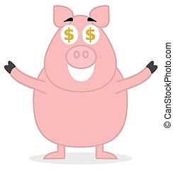 reputacja, cielna, świnia, podobny, pieniądze
