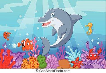 reputacja, colle, delfin, rysunek