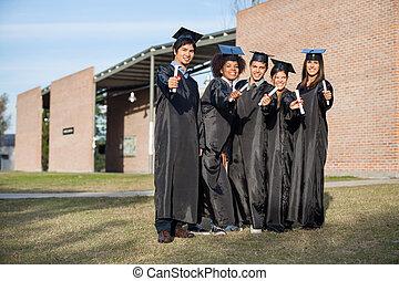 reputacja, dyplomy, studenci, pokaz, kolegium obręb szkoły