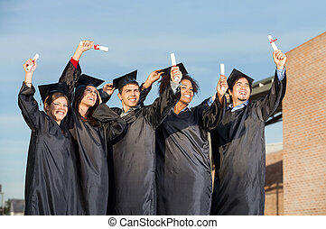 reputacja, dyplomy, studenci, uniwersytet, razem, campus