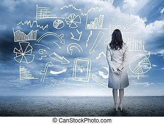 reputacja, flowchart, patrząc, dane, kobieta interesu
