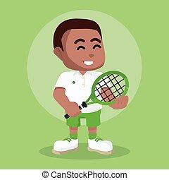 reputacja, gracz, tenis, poza, afrykanin