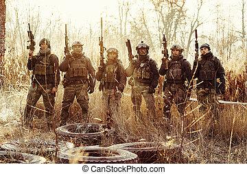 reputacja, grupa, herb, patrząc, aparat fotograficzny, wojsko