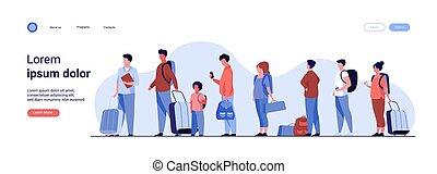 reputacja, grupa, kreska, bagaż, turysta