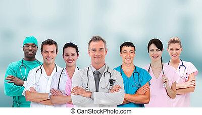 reputacja, grupa, krzyżowany herb, pracownicy, mieszany, medyczny